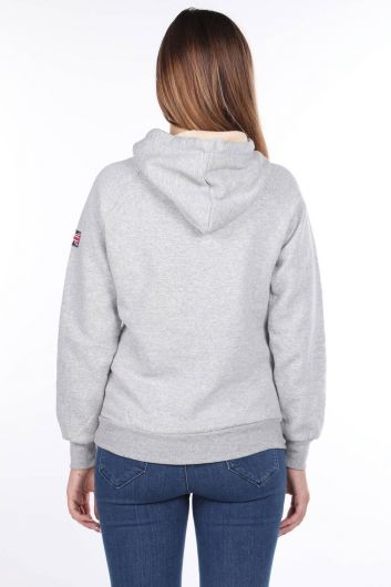 MARKAPIA WOMAN - Oxford University Aplikeli İçi Polarlı Kapüşonlu Sweatshirt (1)