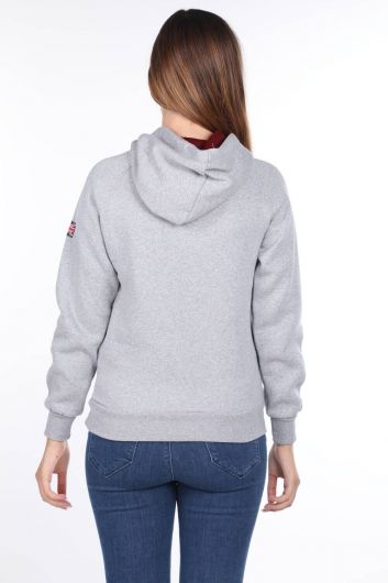 MARKAPIA WOMAN - Oxford University Aplikeli İçi Polarlı Kapüşonlu Kadın Sweatshirt (1)