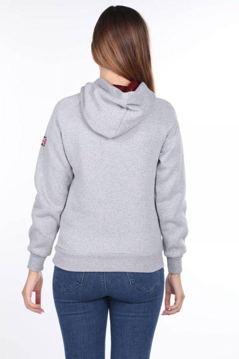Oxford University Aplikeli İçi Polarlı Kapüşonlu Kadın Sweatshirt