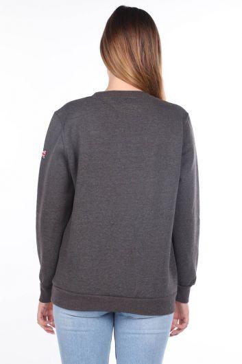 MARKAPIA WOMAN - Oxford University Aplikeli İçi Polarlı Kadın Sweatshirt (1)