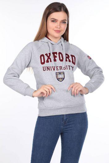 Женская толстовка с капюшоном Оксфордского университета с аппликациями - Thumbnail
