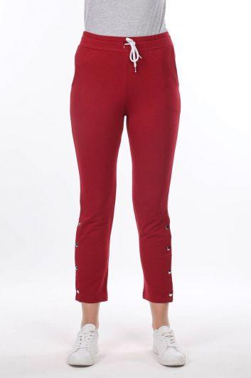 Женские бордово-красные спортивные штаны - Thumbnail