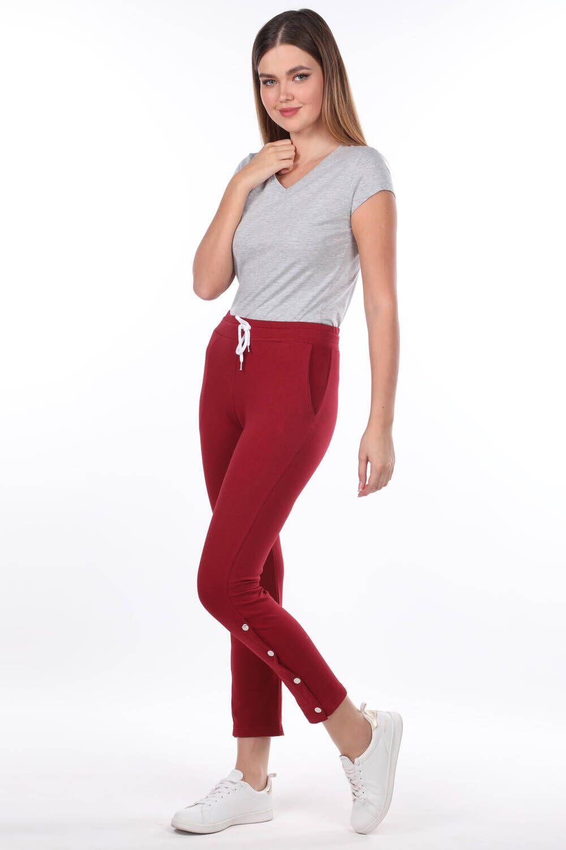 Женские бордово-красные спортивные штаны