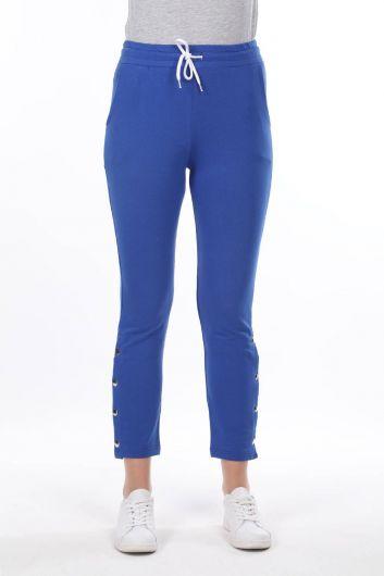 Женские синие спортивные штаны на кнопках - Thumbnail