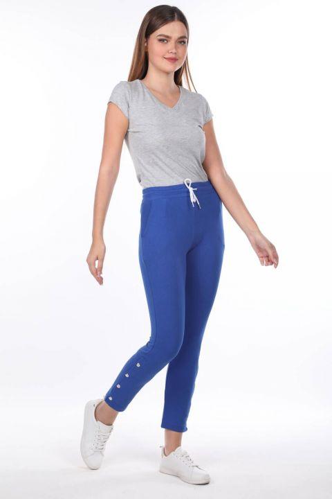 Женские синие спортивные штаны на кнопках