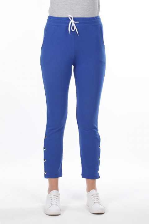 Women's Blue Sweatpants With Snap Detail