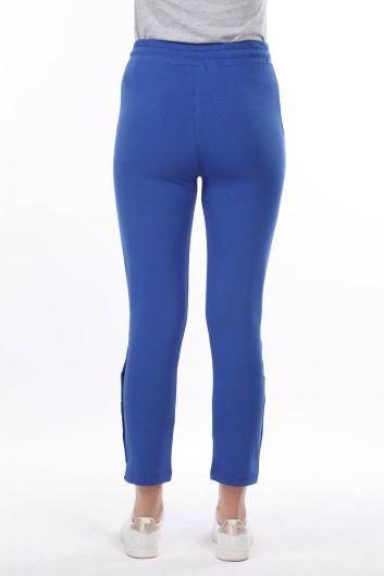 Women's Blue Sweatpants With Snap Detail - Thumbnail