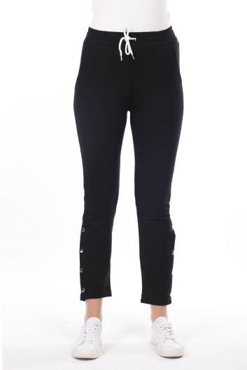 Snap Detail Black Women's Sweatpants - Thumbnail