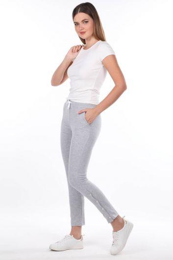 Серые женские спортивные штаны на кнопках - Thumbnail