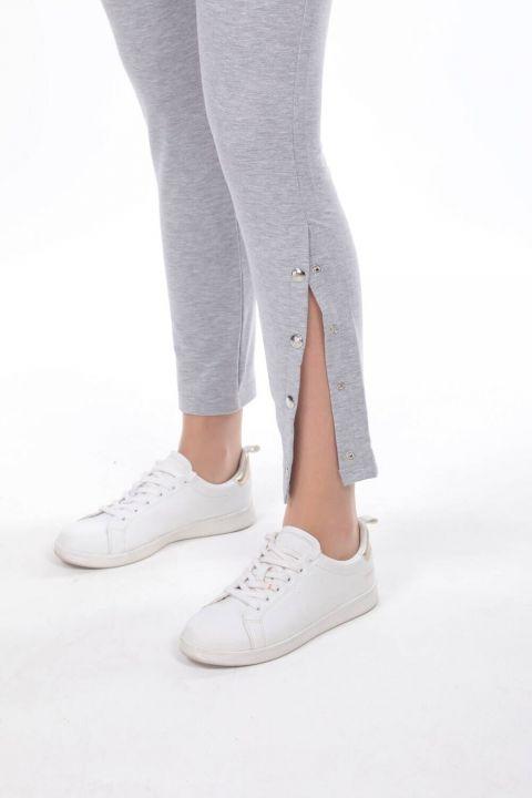 Серые женские спортивные штаны на кнопках