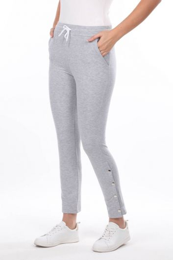 MARKAPIA WOMAN - Snap Detail Gray Women's Sweatpants (1)