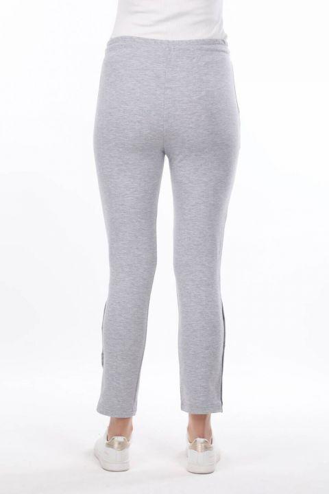 Snap Detail Gray Women's Sweatpants