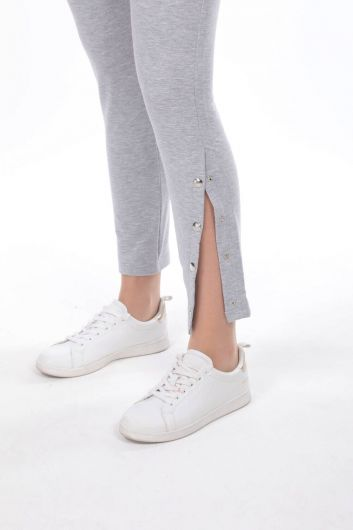 Snap Detail Gray Women's Sweatpants - Thumbnail