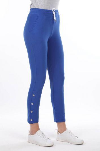 MARKAPIA WOMAN - Синий женский спортивный костюм с кнопками и детализированной отделкой (1)