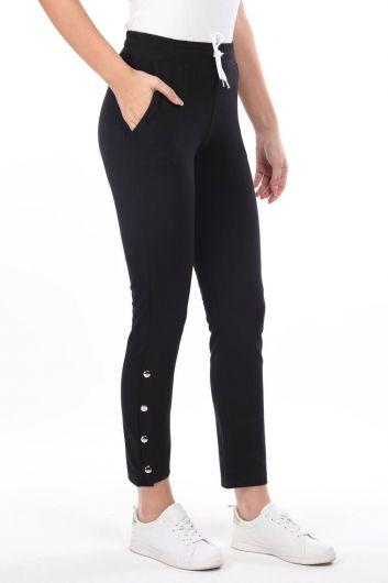MARKAPIA WOMAN - Черный женский спортивный костюм на кнопках (1)