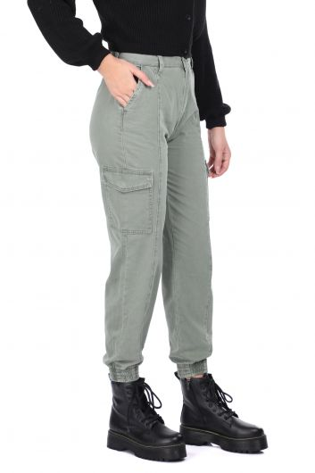 MARKAPIA WOMAN - Elastic Waist Cargo Pocket Women's Jean Trousers (1)