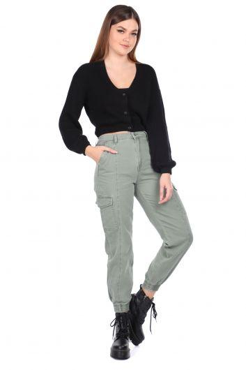 Elastic Waist Cargo Pocket Women's Jean Trousers - Thumbnail