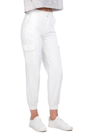 Джинсовые брюки с карманами-карго на резинке на талии - Thumbnail