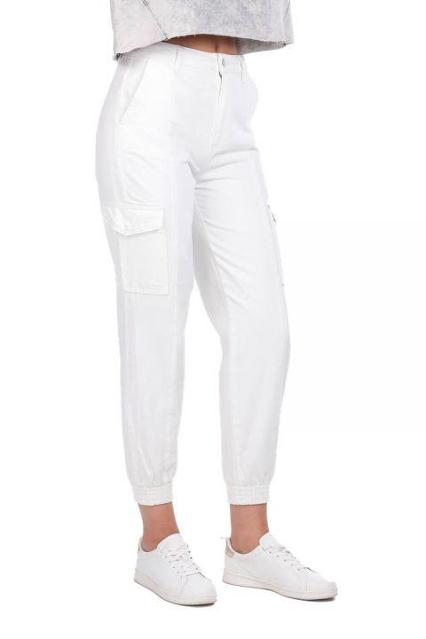 Джинсовые брюки с карманами-карго на резинке на талии