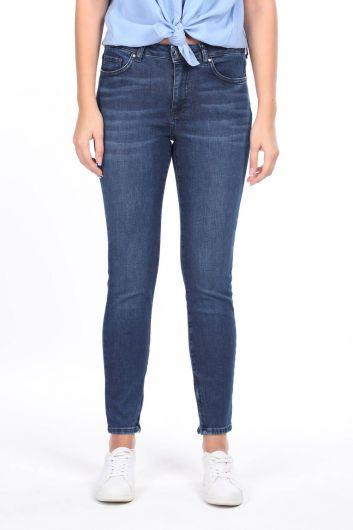 Paçası Fermuarlı Orta Bel Jean Pantolon - Thumbnail