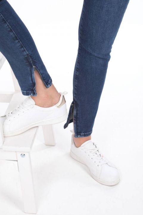 Paçası Fermuarlı Orta Bel Jean Pantolon