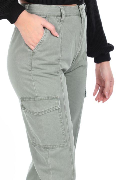 Paçası Lastikli Kargo Cep Kadın Jean Pantolon