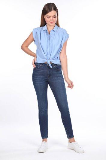 بنطلون جينز بخصر متوسط بسحاب - Thumbnail