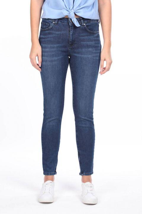 Zippered Mid Waist Jean Trousers