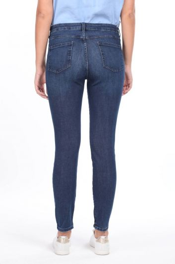 Zippered Mid Waist Jean Trousers - Thumbnail