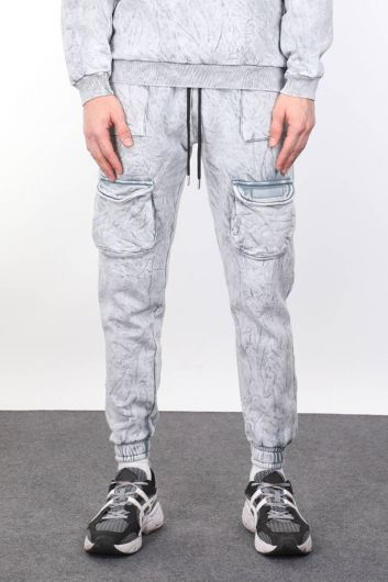 Мужские серые спортивные штаны с карманом - Thumbnail