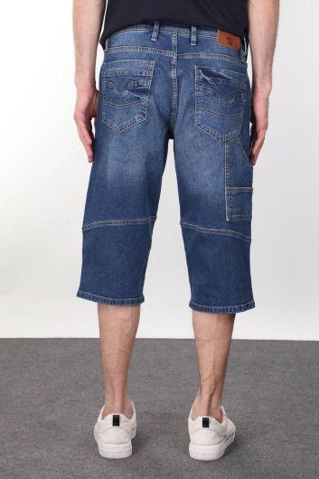 Split Back Pocket Detailed Men's Capri - Thumbnail