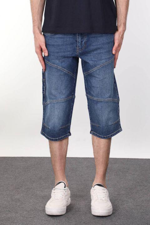 Мужские капри с разрезом сзади и карманом с деталями