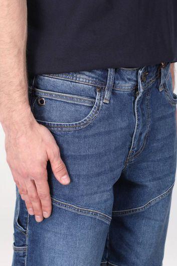 Мужские капри с разрезом сзади и карманом с деталями - Thumbnail