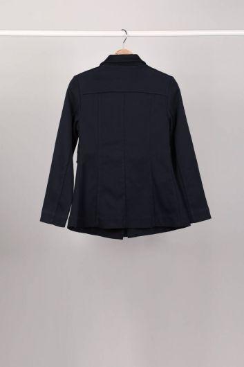MARKAPIA WOMAN - Parçalı Fermuarlı Lacivert Kadın Ceket (1)