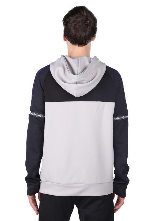 Parçalı Kapüşonlu Erkek Sweatshirt