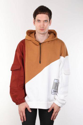 Parçalı Kapüşonlu Oversize Erkek Sweatshirt - Thumbnail