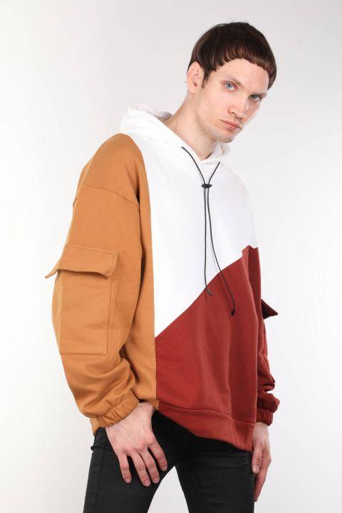 Parçalı Renkli Kapüşonlu Oversize Erkek Sweatshirt