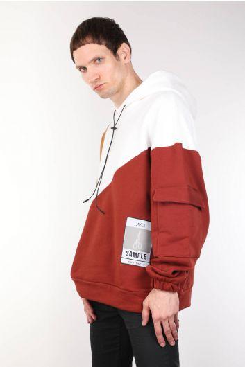 MARKAPIA - Parçalı Renkli Kapüşonlu Oversize Erkek Sweatshirt (1)