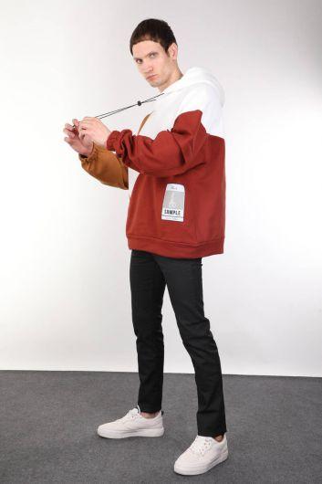 Parçalı Renkli Kapüşonlu Oversize Erkek Sweatshirt - Thumbnail