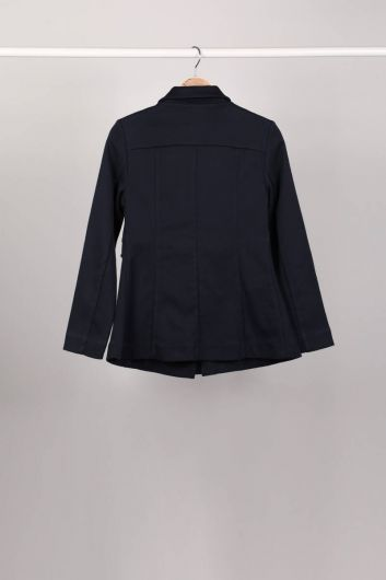 MARKAPIA WOMAN - Parted Zippered Navy Blue Women's Jacket (1)