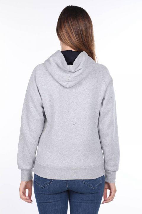 Paris France Aplikeli İçi Polarlı Kapüşonlu Kadın Sweatshirt