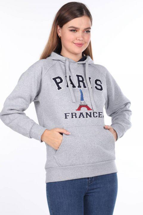 Paris France Aplikeli İçi Polarlı Kapüşonlu Gri Kadın Sweatshirt