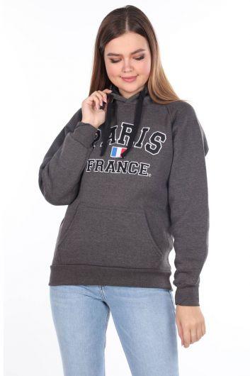 Paris France Aplikeli Koyu Gri İçi Polarlı Kapüşonlu Kadın Sweatshirt - Thumbnail