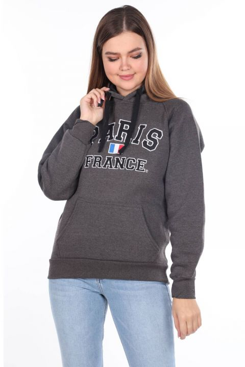 Paris France Applique Dark Gray Women's Fleece Hooded Sweatshirt