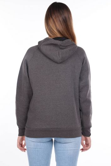 Paris France Applique Dark Gray Women's Fleece Hooded Sweatshirt - Thumbnail
