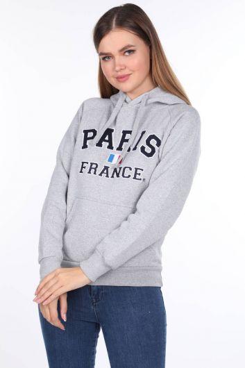 Серая женская толстовка с капюшоном из флиса с аппликацией Paris France - Thumbnail