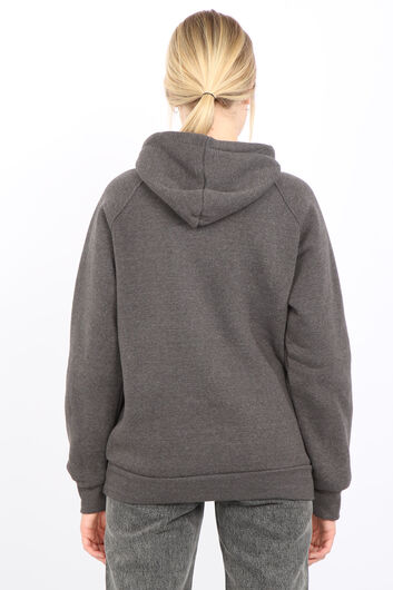 قميص من النوع الثقيل رمادي بقلنسوة نسائي من Paris France مصنوع من الصوف الداخلي - Thumbnail