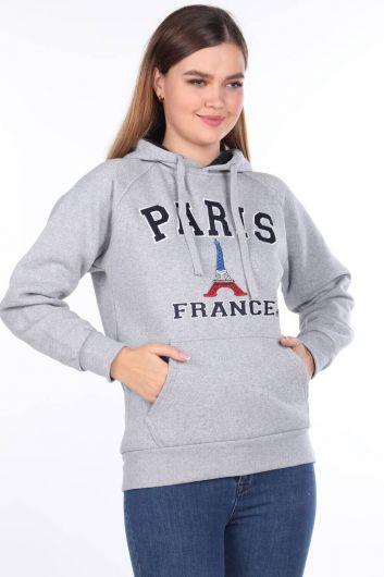 Серая женская толстовка с капюшоном и внутренней флисовой подкладкой Paris France с аппликацией - Thumbnail