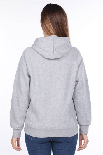 MARKAPIA WOMAN - Paris France Appliqued Inner Fleece Hooded Gray Women's Sweatshirt (1)