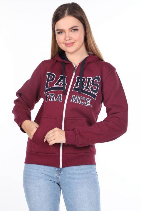 Paris France Applique Women's Fleece Zippered Sweatshirt